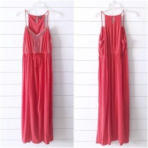 Lily Rose Pink Embroidered Drawstring Maxi Dress